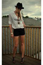 black vintage hat - white H&M shirt - black H&M shorts - black thrifted belt - b