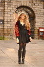 Black-riding-boots-ted-baker-boots-black-vintage-jeff-banks-dress