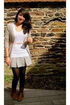 beige Zara cardigan - pink vintage belt - white J Crew shirt - silver Aeropostal