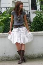 Zara shirt - vintage skirt - vintage belt - Nina Ricci glasses