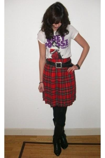 Oh la la vintage shop skirt - Oh La La vintage shop belt - Obey Giant t-shirt -