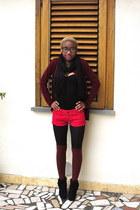 brick red H&M socks - black vintage boots - hot pink Zara shorts