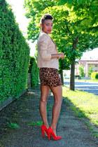 brown H&M dress - beige vintage jacket - red asos pumps