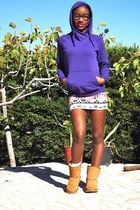 purple H&M sweatshirt - camel Ugg boots - white Bershka skirt