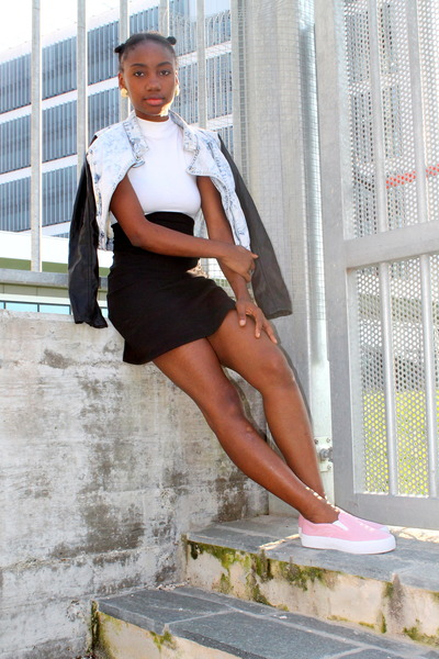 white Motel Rocks dress - black Primark jacket - bubble gum asos sneakers