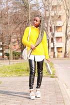 yellow Zara sweater - black Nelly pants - white asos sandals