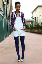 navy new look shirt - navy Primark tights - light pink new look pumps