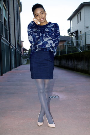 navy Mango jumper - heather gray Primark tights - neutral new look pumps