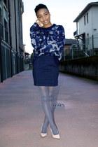 navy Mango jumper - heather gray Primark tights - neutral new look pumps