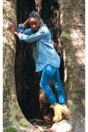 mustard River Island boots - blue H&M shirt