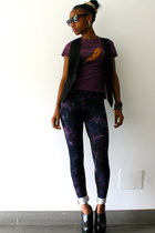 deep purple asos leggings - deep purple vintage t-shirt - black H&M vest