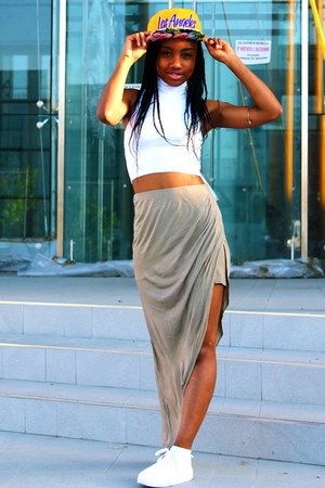 yellow River Island hat - white asos top - dark khaki asos skirt