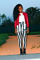 white Primark sweater - black Zara boots - red Forever 21 jacket