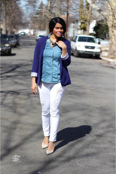 Forever 21 blazer - Payhalf jeans - chambray 10 Spot shirt - Walmart necklace