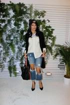 Guess coat - heels Target shoes - boyfriend jeans Forman Mills jeans