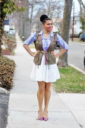 Forever 21 skirt - Steve Madden shoes - JCPenney shirt - Forever 21 vest