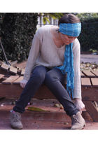 black jeans - beige blouse - brown shoes - blue scarf