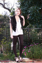 black vest - white Barkins top - black Steve Madden shoes - black supre tights