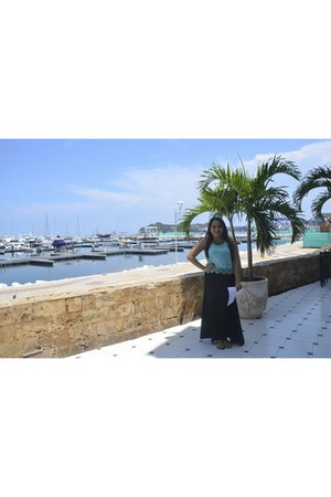 black lycra Micerino skirt - blue chiffon Micerino blouse