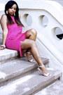 Hot-pink-h-m-dress-silver-guess-heels