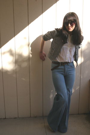 Anthropologie jacket - white thrift blouse - brown Urban Outfitters belt - blue