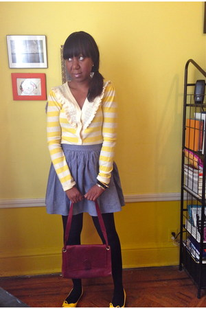 yellow thrifted vintage sweater - light blue Urban Outfitters skirt