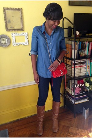 blue Forever 21 jeans - brown Stradivarius boots