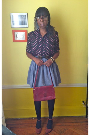vintage blouse - vintage bag - Urban Outfitters skirt - modcloth heels