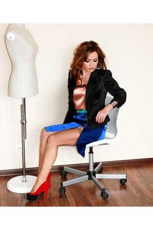 black Top Secret blazer - navy satyna-tafta D IY skirt - silver asos bracelet