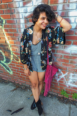 Bakers boots - Urban Outfitters bag - H&M romper - Forever 21 cardigan
