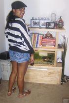 random brand sweater - blue hydraulics shorts - christian dior glasses - black h