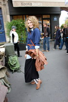 black madewell skirt - tan Frye shoes - navy Barneys sweater
