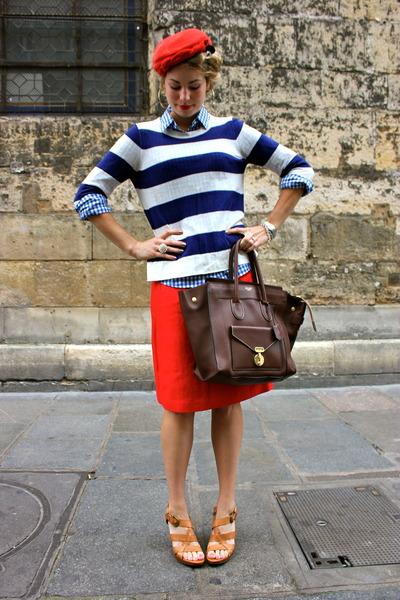 dark brown Celine purse - brown Nine West shoes - navy J Crew sweater