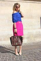 dark brown Celine bag - cream Cole Haan shoes - violet vintage sweater