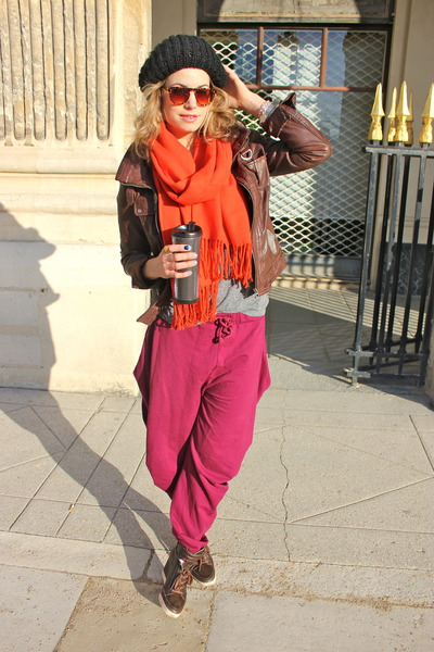 magenta Je taime pants - dark brown Bershka jacket - heather gray Old Navy shirt