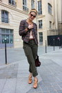 Brown-nine-west-shoes-coral-zara-jacket-deep-purple-fracesco-biasia-bag