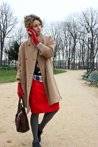 camel balenciaga coat - black J Crew sweater - dark brown Celine purse