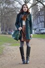 Pollini-boots-dark-green-whistles-coat-forest-green-banana-republic-sweater