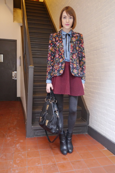 Topshop blazer - Massimo Dutti boots - whistles shirt - Mulberry bag
