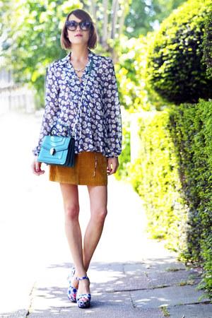 Zara skirt - bulgari bag - Alice  Olivia wedges - Zara blouse