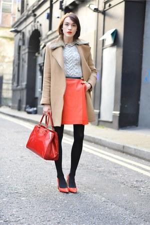 coach skirt - SANDRO coat - Lulu Guinness bag - coach heels - coach jumper