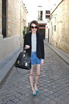 whistles blazer - Mulberry bag - BDG shorts - French Connection t-shirt