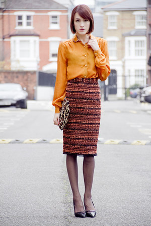Mulberry blouse - Hobbs bag - Kurt Geiger heels - Mulberry skirt