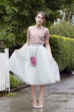 Jimmy Choo sandals - Chanel bag - alexandra grecco skirt - By Marlene Birger top