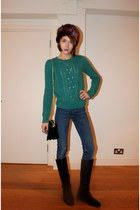 whistles jumper - Massimo Dutti boots - acne jeans - Topshop hat - Topshop bag