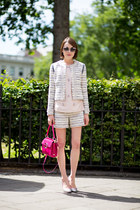 tory burch jacket - Roger Vivier bag - tory burch shorts - kate spade sunglasses