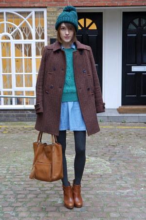 whistles coat - Massimo Dutti boots - Topshop dress - Topshop hat