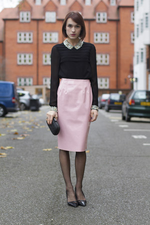 Topshop skirt - Anya Hindmarch bag - whistles blouse - Kurt Geiger heels
