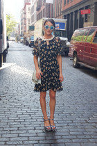 Anna Sui dress - Alberta Ferretti bag - Alice and Olivia wedges