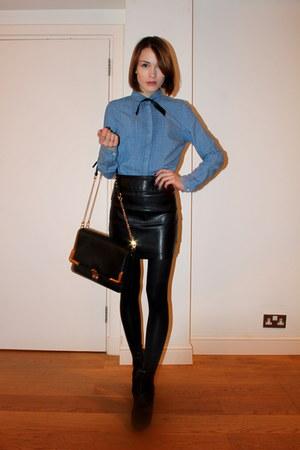Urban Outfitters skirt - Hobbs boots - whistles shirt - whistles bag